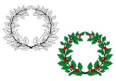 Венок рождества падуба иллюстрация вектора