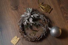 Венок рождества серебряный Стоковые Изображения RF