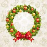 венок рождества смычка baubles Стоковое Изображение