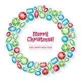 Венок рождества собранный самоцветов Стоковые Фотографии RF