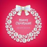 Венок рождества сделанный из белых жемчугов Стоковая Фотография RF