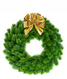 Венок рождества с золотым украшением смычка ленты Стоковые Фотографии RF