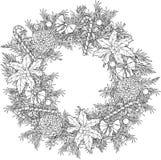 Венок рождества с конфетами, конусами и листьями падуба расцветка иллюстрация штока