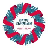 Венок рождества с красной лентой и приветствиями Стоковое Изображение RF