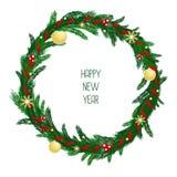 Венок рождества с красной лентой, шариками золота и Стоковые Изображения RF