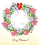 Венок рождества с шариками и Poinsettia иллюстрация вектора