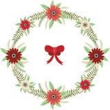 Венок рождества флористический с красным комплектом смычка Стоковое Изображение