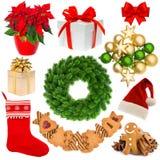 Венок рождества, шляпа, носок, подарочная коробка, безделушки, печенья Стоковое Фото