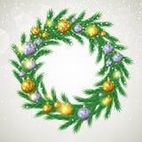 Венок рождественской елки с украшениями Стоковые Фотографии RF