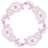 Венок розовых цветков на белой предпосылке Круглая рамка для ярлыка бесплатная иллюстрация