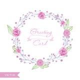 Венок роз цветка акварели Иллюстрация вектора