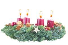 венок свечек пришествия горящий Стоковые Фотографии RF