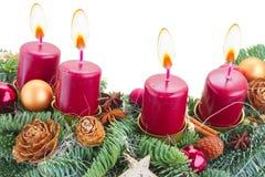 венок свечек пришествия горящий Стоковые Фото