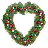 Венок сердца рождества форменный Стоковые Изображения