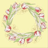 Венок с красными белыми тюльпанами бесплатная иллюстрация