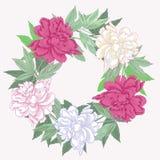 Венок с розовыми и белыми пионами иллюстрация вектора