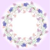 Венок с розовым и голубым вьюнком иллюстрация вектора