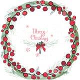 Венок с украшениями рождества и помадками, пряником Круглая гирлянда украшена с праздничными праздничными элементами, снежинкой Стоковое фото RF