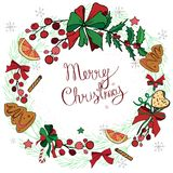 Венок с украшениями рождества и помадками, пряником Стоковые Фотографии RF