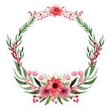 Венок с цветками акварели одичалыми красными и листьями зеленого цвета иллюстрация штока