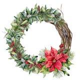 Венок традиционного рождества акварели флористический Вручите покрашенные ветви poinsettia, snowberry, дерева и ели, красные ягод Стоковые Изображения RF