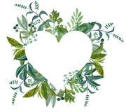 Венок формы сердца акварели! Стоковое Изображение