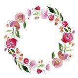 Венок цветка акварели нарисованный вручную для дизайна Художническая изолированная иллюстрация иллюстрация вектора