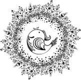 Венок цветка с птицей Стоковые Изображения RF
