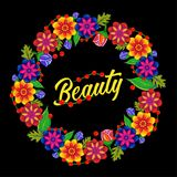 венок цветков бобра Черная предпосылка иллюстрация штока