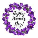 Венок цветков крокуса Прочешите на день ` s женщин также вектор иллюстрации притяжки corel бесплатная иллюстрация