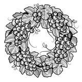 венок черных виноградин ретро белый Стоковые Фотографии RF