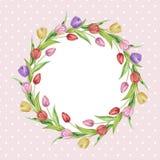 Венок шаблона тюльпанов на розовой предпосылке иллюстрация штока