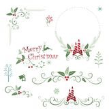 Венок элементов, шнурка, границы и цветка рождества Стоковое фото RF