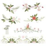 Венок элементов, шнурка, границы и цветка рождества Стоковое Изображение