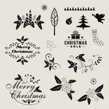 Венок элементов, шнурка, границы и цветка рождества Стоковая Фотография