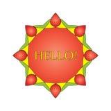 Венок, эмблема, символ красное восьмиугольное 1 Стоковые Фото