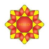Венок, эмблема, символ красные восьмиугольные 2 Стоковые Фото