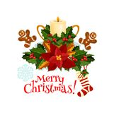 Венок ягоды падуба рождества с значком свечи бесплатная иллюстрация