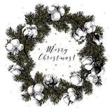 Венок Cristmas с елью разветвляет, цветки cooton Иллюстрация вектора нарисованная рукой Винтажное искусство Xmas Новый Год Setche Стоковое Изображение RF