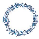 Венок doodle лист Винтажная круглая голубая рамка изолированная на белизне Стоковые Изображения RF