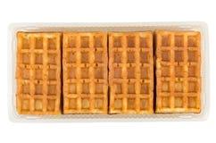 Венские waffles в пластмасовом контейнере изолированном на белизне Стоковые Изображения