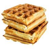 2 венских waffles при изолированная клубника Стоковое Изображение RF