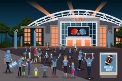 Вентиляторы американского футбола идя к иллюстрации стадиона Стоковые Изображения RF