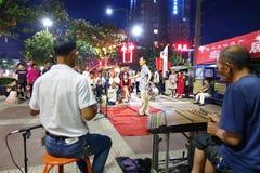 Вентиляторы оперы обочины придают квадратную форму в провинции Шэньси, Китае стоковая фотография