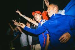 Вентиляторы празднуя победу квалификации Франции для окончательного ФИФА Стоковые Изображения RF