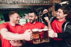 Вентиляторы спорт празднуя и веселя выпивая пиво на баре спорт Стоковые Изображения RF