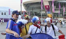 Вентиляторы французской национальной команды перед спичкой ЕВРО 2012 в d Стоковая Фотография RF