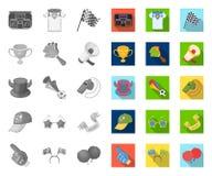 Вентилятор и атрибуты mono, плоские значки в установленном собрании для дизайна Иллюстрация сети запаса символа вектора вентилято иллюстрация вектора