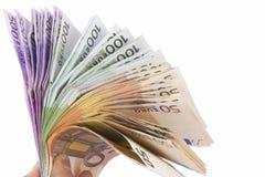 Вентилятор 50 евро 100 и 500 счетов Стоковое фото RF