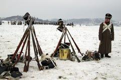 Вентиляторы истории в воинских костюмах Стоковая Фотография RF